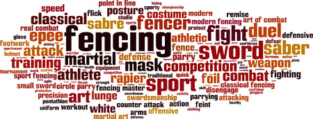 footwork: Fencing word cloud concept. Vector illustration