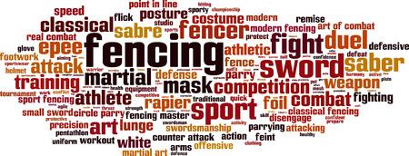 Fencing word cloud concept. Vector illustration