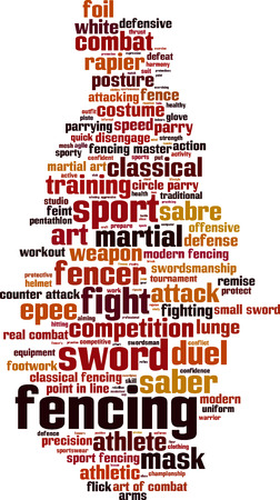 disengage: Fencing word cloud concept. Vector illustration