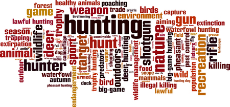 Hunting word cloud concept. Vector illustration