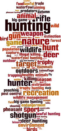 endangerment: Hunting word cloud concept. Vector illustration