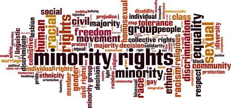 Minority rights word cloud concept. Vector illustration