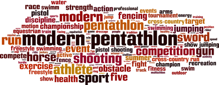 pentathlon: Modern pentathlon word cloud concept. Vector illustration Illustration