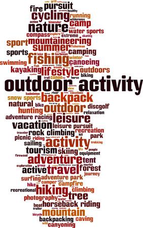 outdoor activity: Outdoor activity word cloud concept. Vector illustration