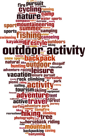 Outdoor activity word cloud concept. Vector illustration