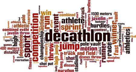 lanzamiento de disco: Palabra Decathlon concepto de nube. Ilustraci�n vectorial