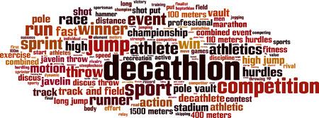 pole vault: Decathlon word cloud concept. Vector illustration