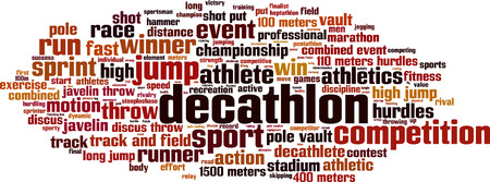 Decathlon word cloud concept. Vector illustration