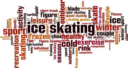 skating: Ice skating word cloud concept. Vector illustration
