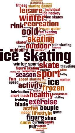 Ice skating word cloud concept. Vector illustration