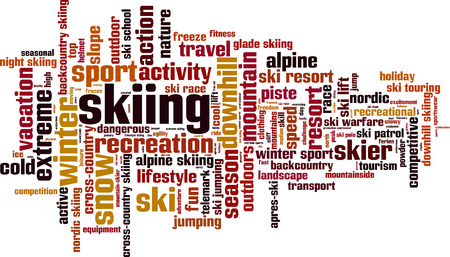 downhill skiing: Skiing word cloud concept. Vector illustration
