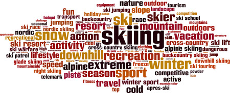 Skiing word cloud concept. Vector illustration