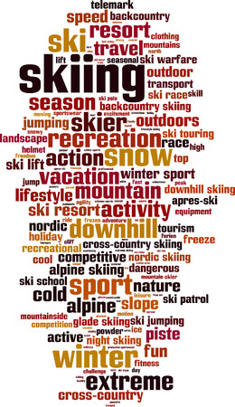 piste: Skiing word cloud concept. Vector illustration