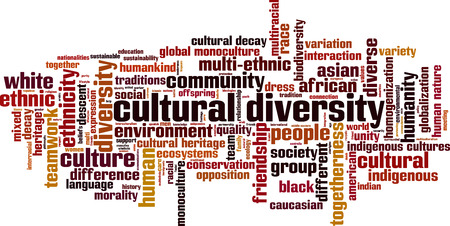 Cultural diversity word cloud concept. Vector illustration Vettoriali