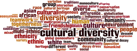 culture: Cultural diversity word cloud concept. Vector illustration Illustration