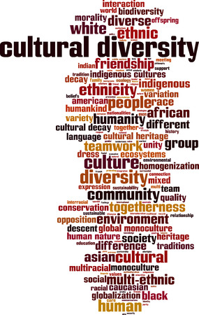 racial diversity: Cultural diversity word cloud concept. Vector illustration Illustration