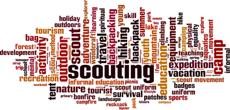 scouting: Scouting word cloud concept. Vector illustration