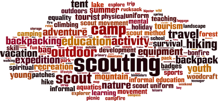 Scouting word cloud concept. Vector illustration