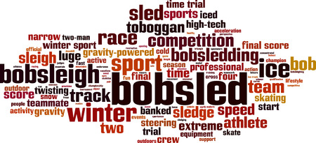 to steer a sledge: Bobsled word cloud concept. Vector illustration