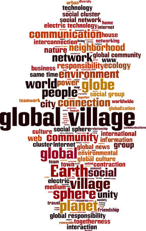 global village: Global village word cloud concept. Vector illustration Illustration