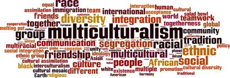 assimilation: Multiculturalism word cloud concept. Vector illustration