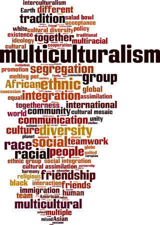 mixed race: Multiculturalism word cloud concept. Vector illustration