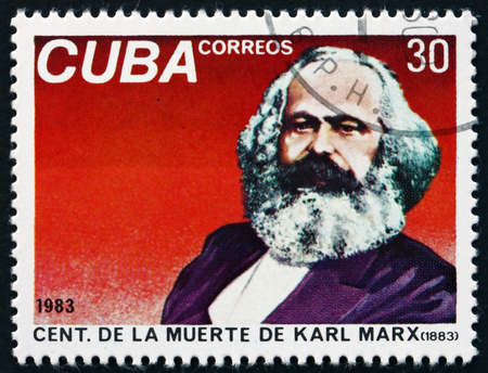 sociologist: CUBA - CIRCA 1983: a stamp printed in the Cuba shows Karl Marx, Philosopher, Economist and Revolutionary Socialist, circa 1983
