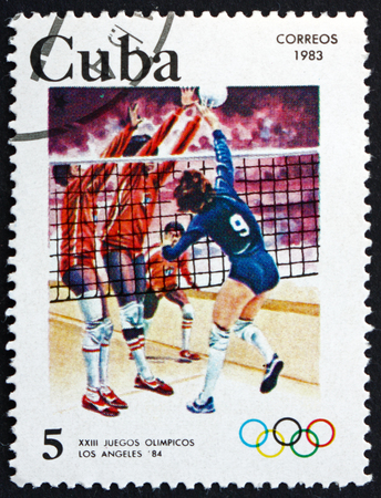 summer olympics: CUBA - CIRCA 1983: a stamp printed in the Cuba shows Volleyball, 1984 Summer Olympics, Los Angeles, USA, circa 1983 Editorial