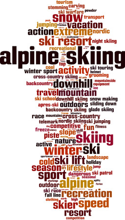 stemming: Alpine skiing word cloud concept. Vector illustration Illustration