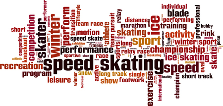 footwork: Speed skating word cloud concept. Vector illustration
