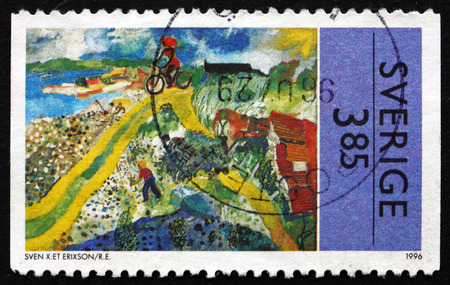 leonard: SWEDEN - CIRCA 1996: a stamp printed in the Sweden shows Summer Scene, Painting by Sven X:Et Erixson, Swedish Painter, circa 1996