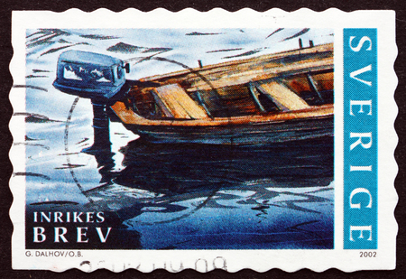 outboard: SWEDEN - CIRCA 2002: a stamp printed in the Sweden shows Boat with Outboard Motor, Summer in Bohuslan, Sweden, circa 2002