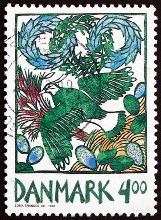 harbinger: DENMARK - CIRCA 1999: a stamp printed in the Denmark shows Lapwing in Flight, Harbinger of Spring, circa 1999 Editorial