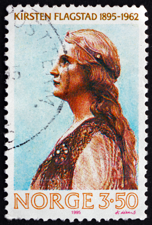 the soprano: NORWAY - CIRCA 1995: a stamp printed in the Norway shows Kirsten Malfrid Flagstad, Norwegian Opera Singer and a Highly Regarded Wagnerian Soprano, circa 1995 Editorial