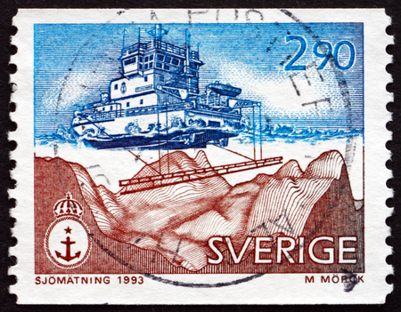 echo: SWEDEN - CIRCA 1993: a stamp printed in the Sweden shows Modern Echo Sounding, Hydrographic Survey, circa 1993