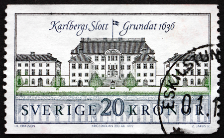 solna: SWEDEN - CIRCA 1992: a stamp printed in the Sweden shows Karlberg Castle, by the Karlberg Canal in Solna Municipality, circa 1992 Editorial