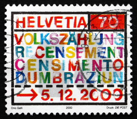 census: SWITZERLAND - CIRCA 2000: a stamp printed in the Switzerland shows 2000 Census, circa 2000