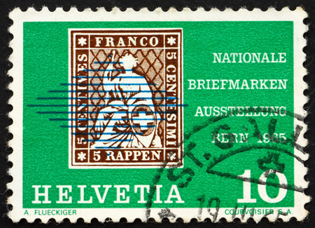 helvetia: SWITZERLAND - CIRCA 1965: a stamp printed in the Switzerland shows Seated Helvetia, from 1854, National Postage Stamp Exhibition, Bern, circa 1965 Editorial