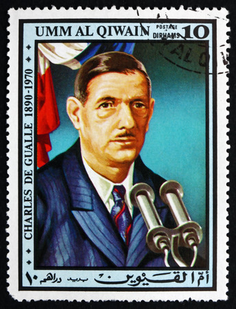 gaulle: UMM AL-QUWAIN - CIRCA 1972: a stamp printed in the Umm al-Quwain shows Charles de Gaulle, Leader of the Resistance, President of France, circa 1972
