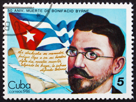 national poet: CUBA - CIRCA 1986: a stamp printed in the Cuba shows Bonifacio Byrne, Cuban Poet, and Flag, circa 1986