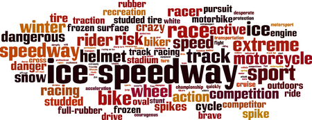 speedway: Ice speedway word cloud concept. Vector illustration