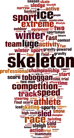 to steer a sledge: Skeleton word cloud concept. Vector illustration