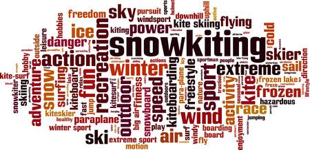 uphill: Snowkiting word cloud concept. Vector illustration
