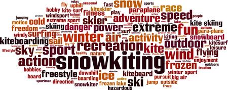 snowkiting: Snowkiting word cloud concept. Vector illustration