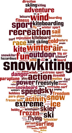 uphill: Snowkiting word cloud concept. Vector illustration