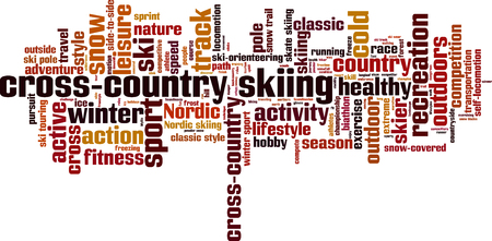 crosscountry: cross-country skiing word cloud concept. Vector illustration