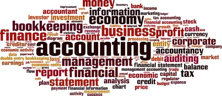 Parola Accounting concetto di cloud. Illustrazione vettoriale
