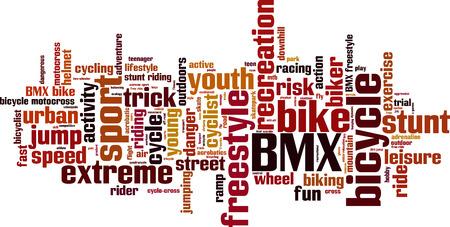 freeride: BMX word cloud concept. Vector illustration