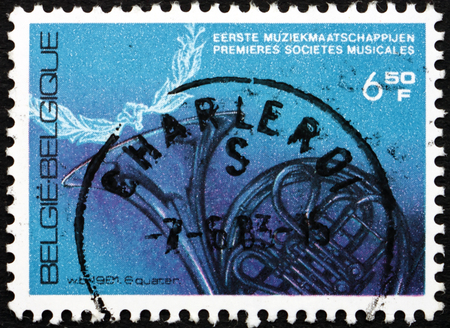 french horn: BELGIUM - CIRCA 1981: a stamp printed in the Belgium shows French Horn, Musical Instrument, circa 1981