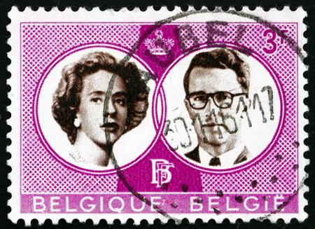 baudouin: BELGIUM - CIRCA 1960: a stamp printed in the Belgium shows King Baudouin and Queen Fabiola, Wedding of King Baudouin and Dona Fabiola de Mora y Aragon, circa 1960 Editorial